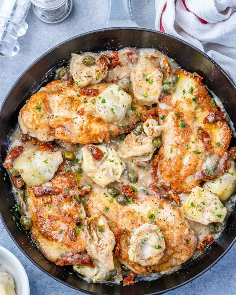 top view of Mediterranean chicken in a skillet