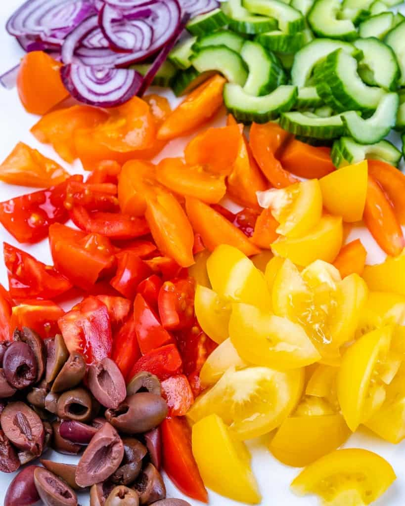 chopped veggies for the chicken salad