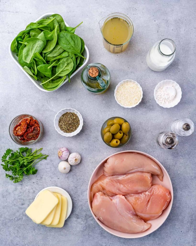 ingredients to make stuffed chicken breast in creamy tuscan sauce
