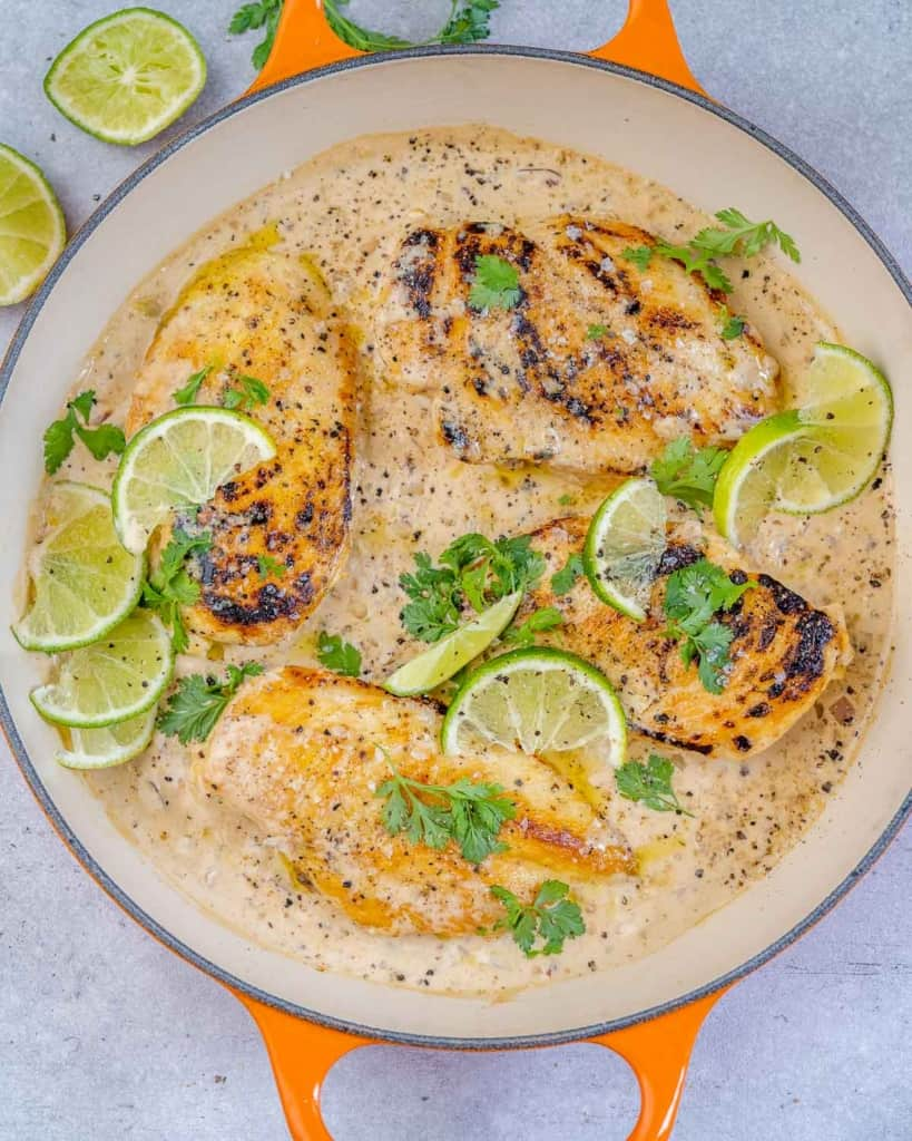 one pan with chipotle chicken and limes