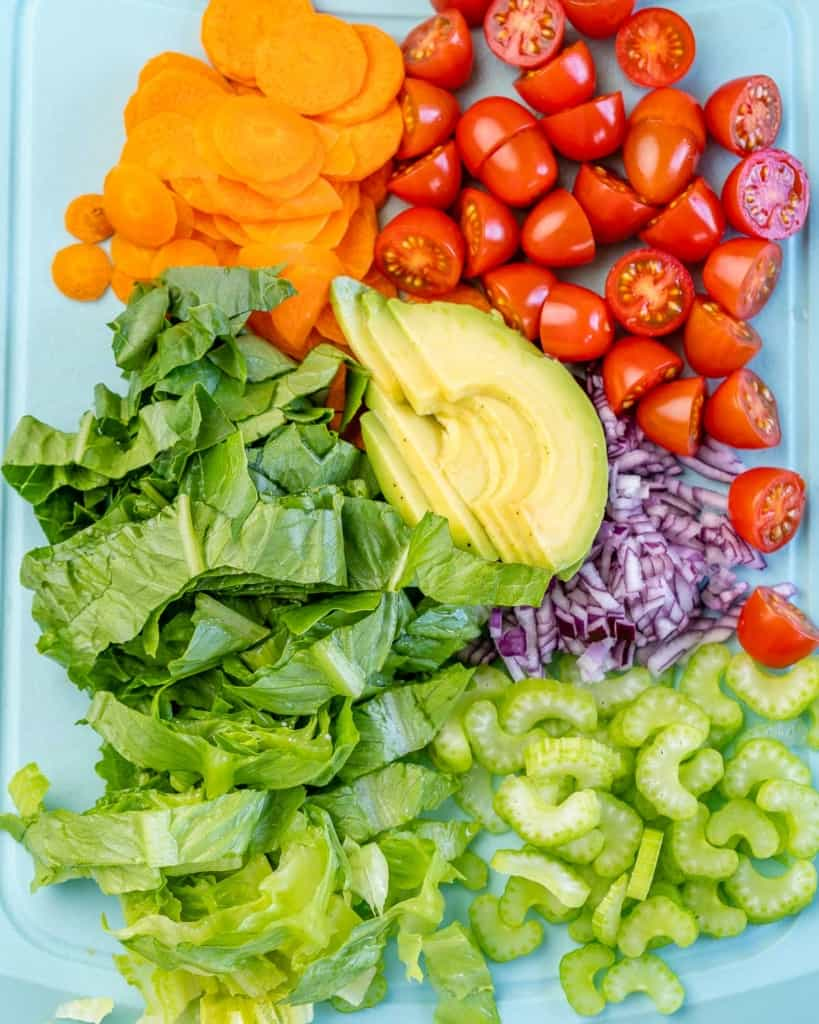 chopped veggies and avocado for the grilled  chicken salad