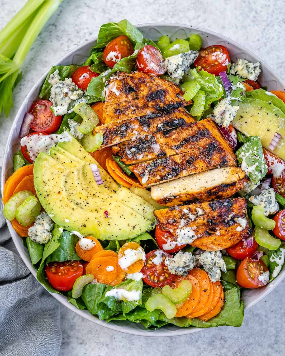 top view grilled buffalo chicken salad