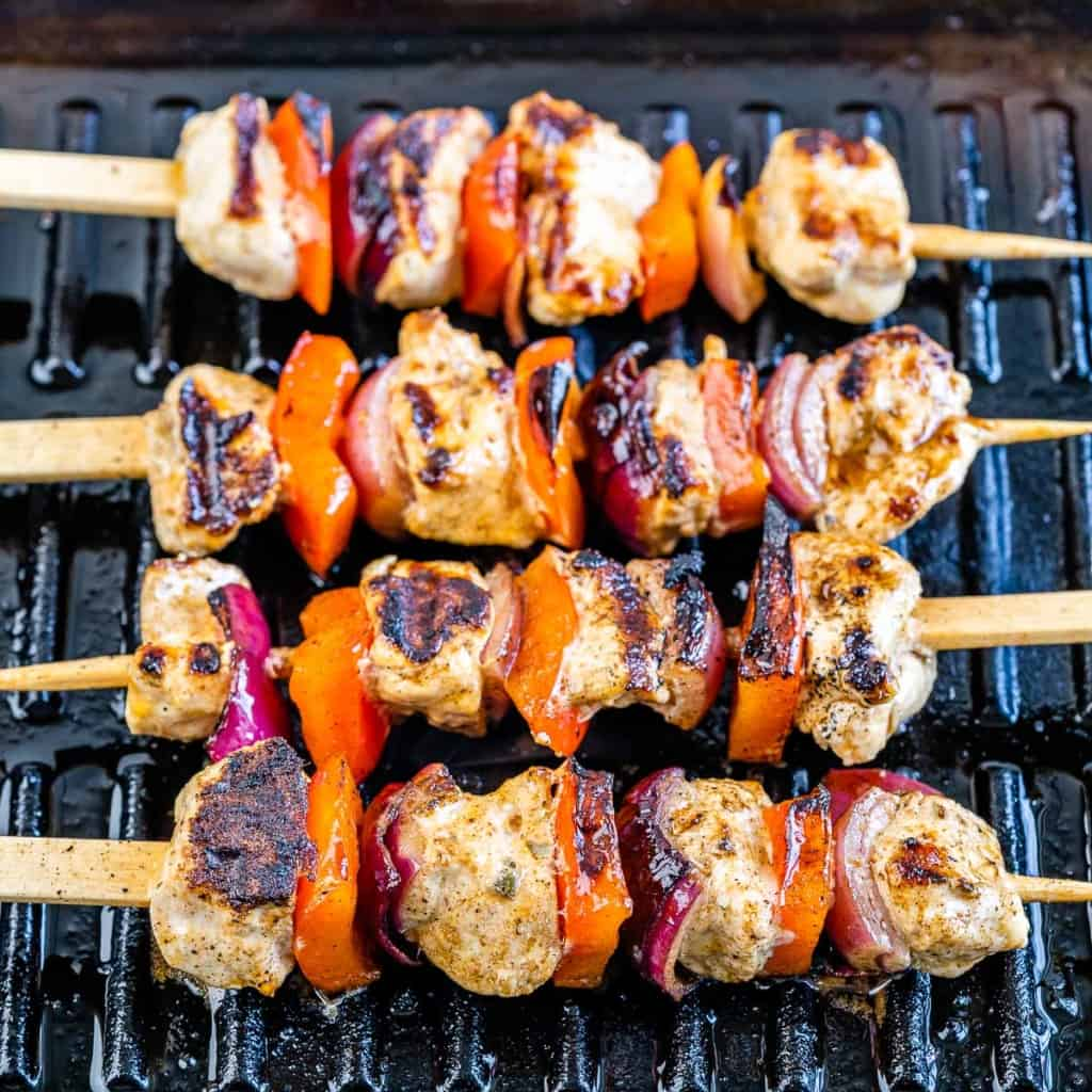 chicken skewers on a grill pan