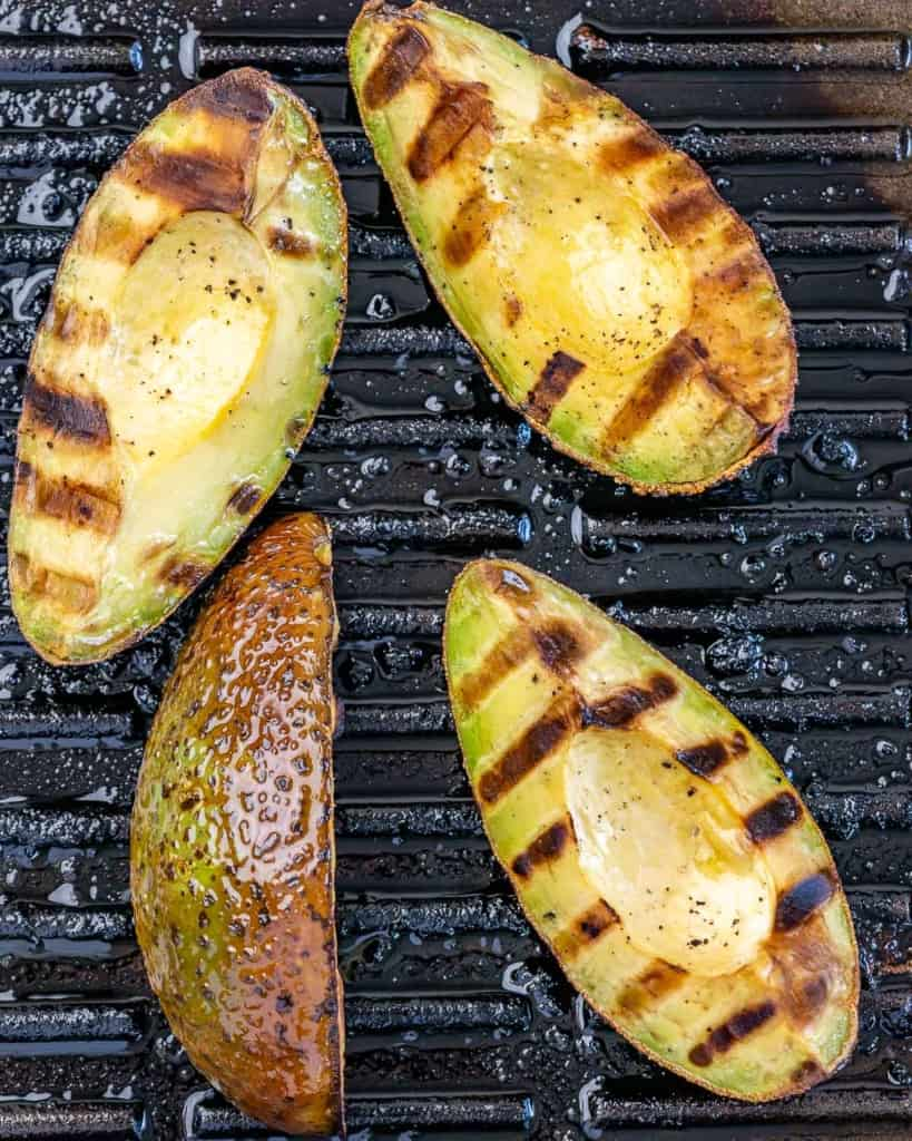 grilled avocado on grill
