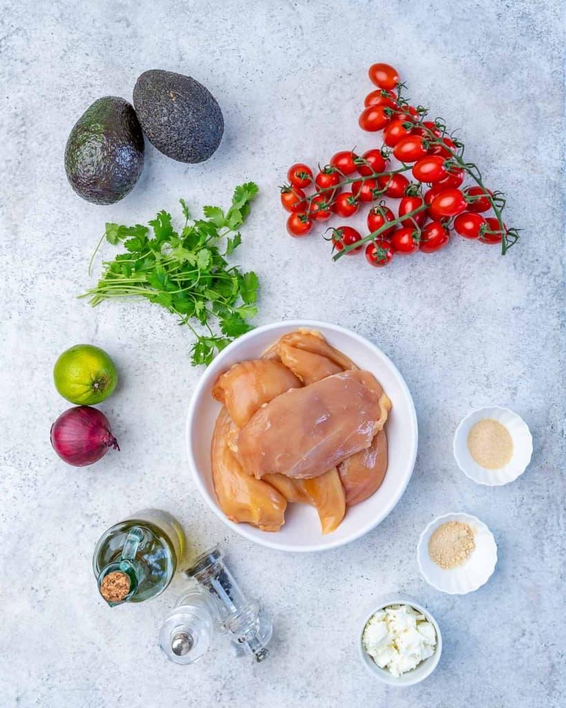 chicken, tomatoes, cilantro, lime, onion, oil, salt, pepper, feta, garlic powder, onion powder