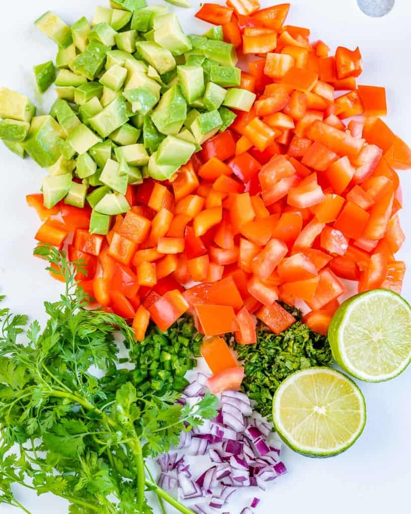 chopped veggies to make the avocado salsa