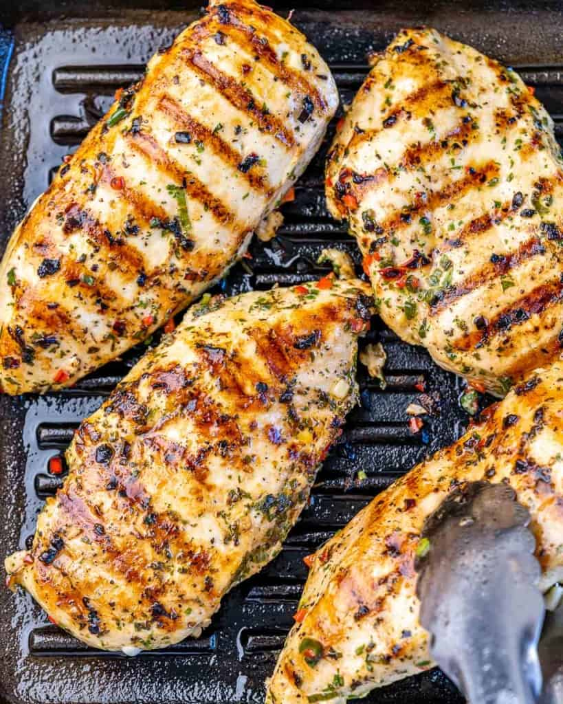 chicken breast grilled on the grill pan