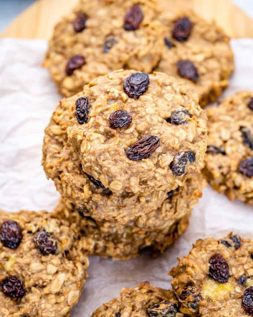 top view oatmeal raison cookies stacks