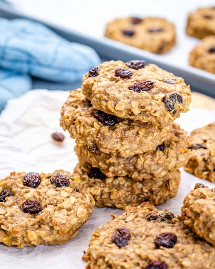 oatmeal raisin cookies stacks