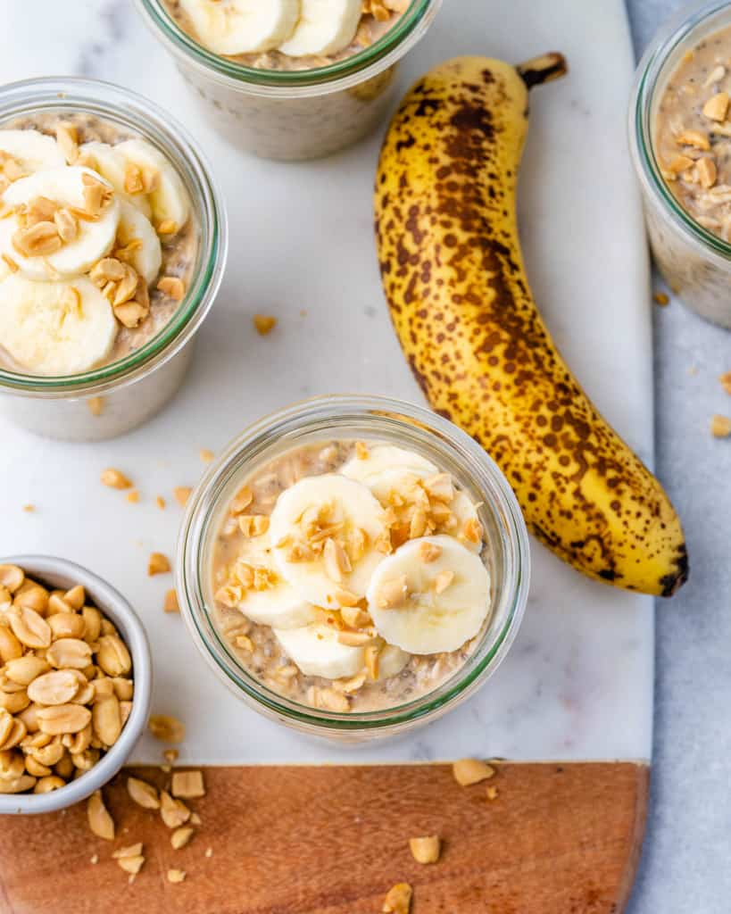top view of overnight oats with banana and peanuts