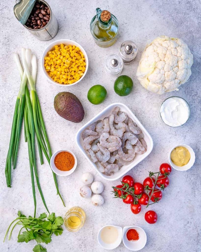 image of ingredients to make burrito bowl