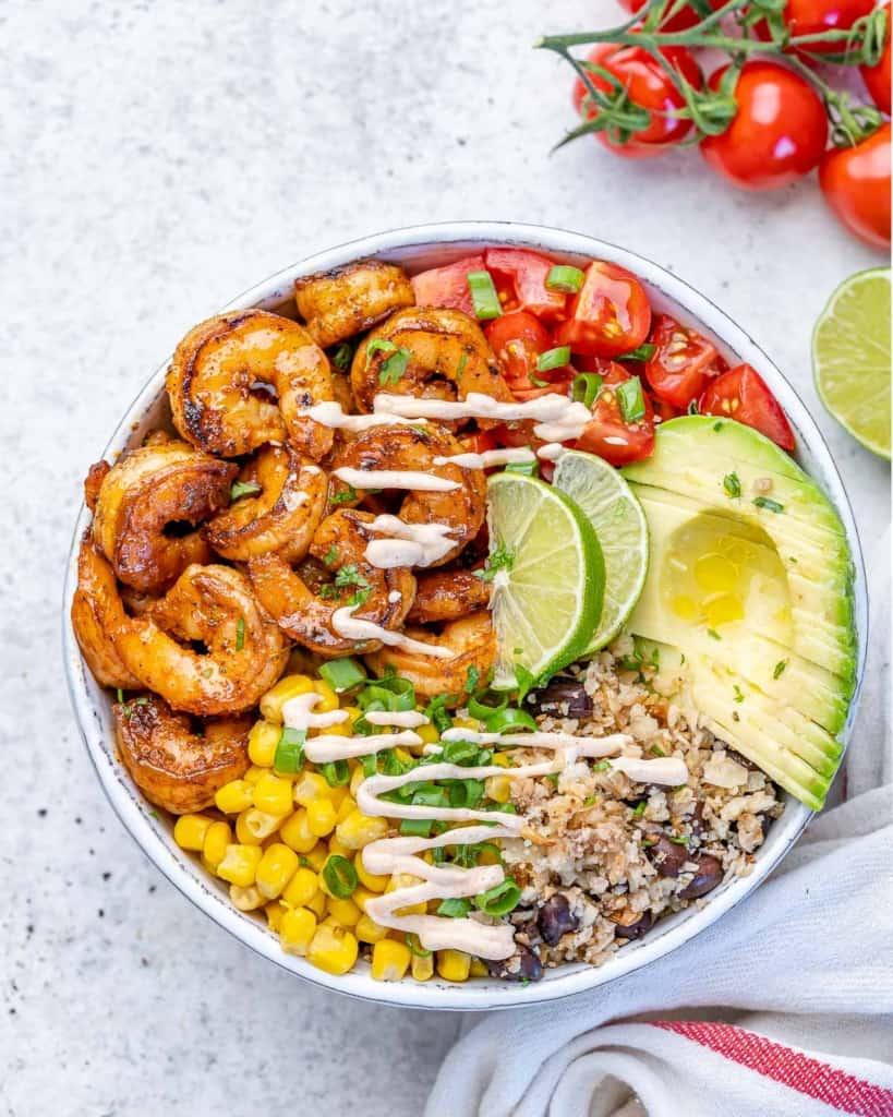 top view shrimp burrito with cauliflower rice