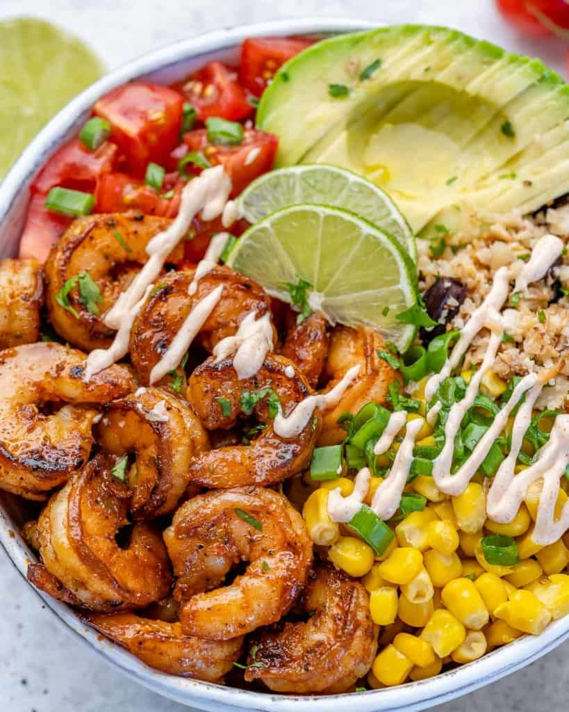 close up burrito bowl with shrimp
