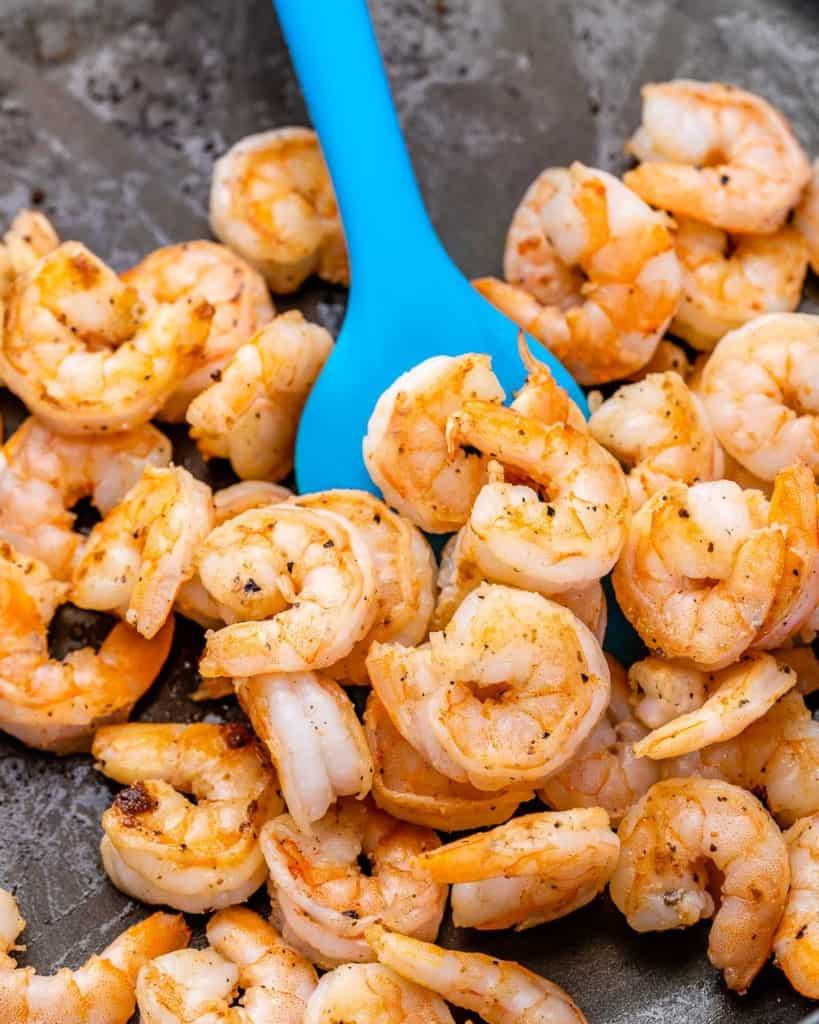 cooked shrimp on skillet for the shrimp salad