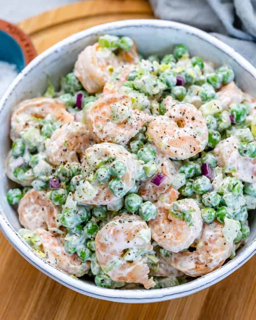 side shot of shrimp salad in a bowl