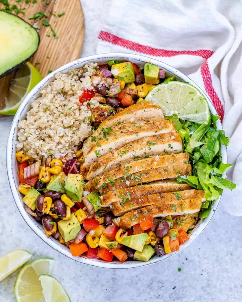 top view chicken taco bowl