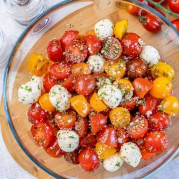 top view tomato salad in a bowl