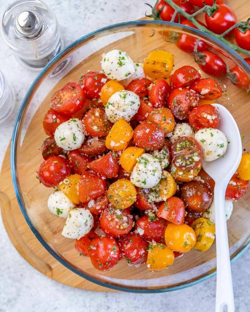 top view tomato salad bowl with mozzarella cheese balls
