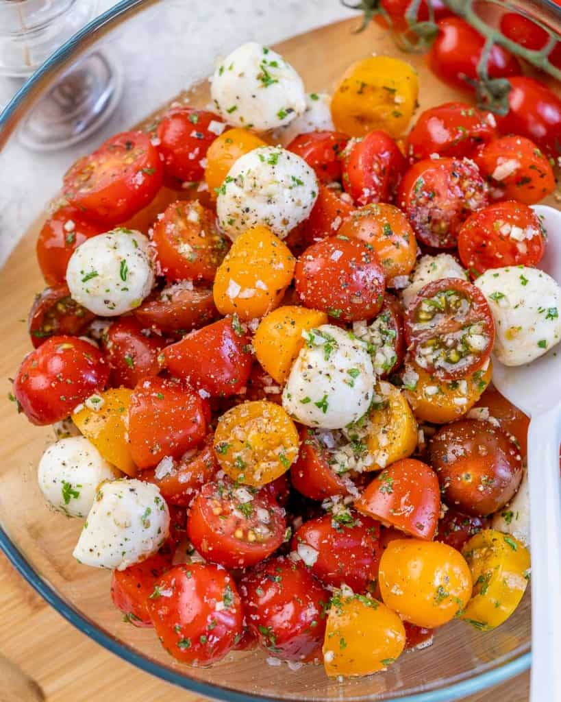 tomato salad in a clear bowl