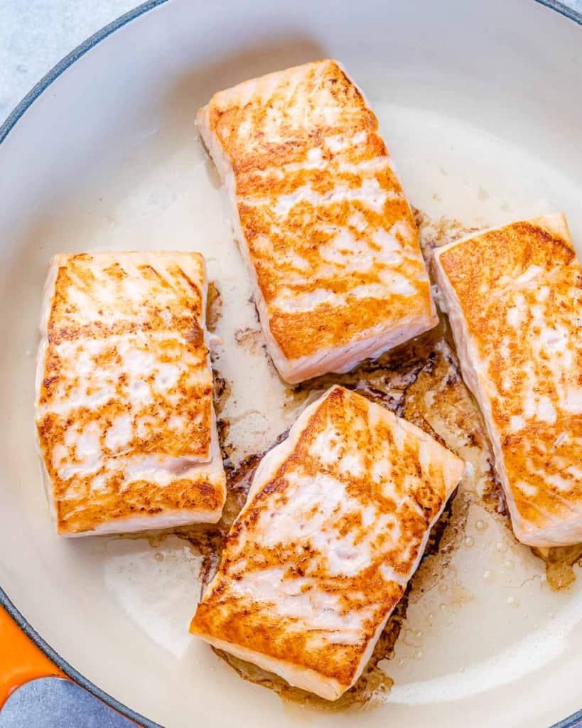 pan seared salmon on pan