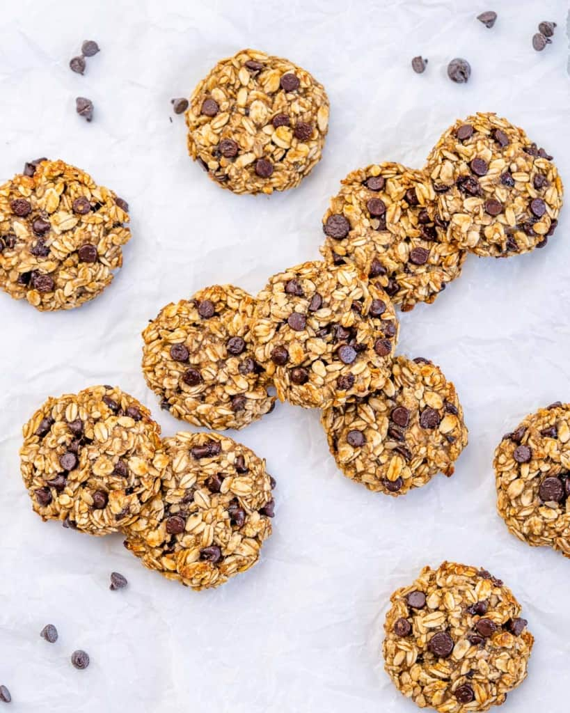 flat laid out oatmeal chocolate chip cookies