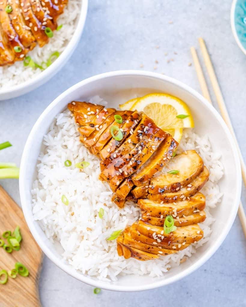 top shot of the chicken teriyaki with rice in a white bowl