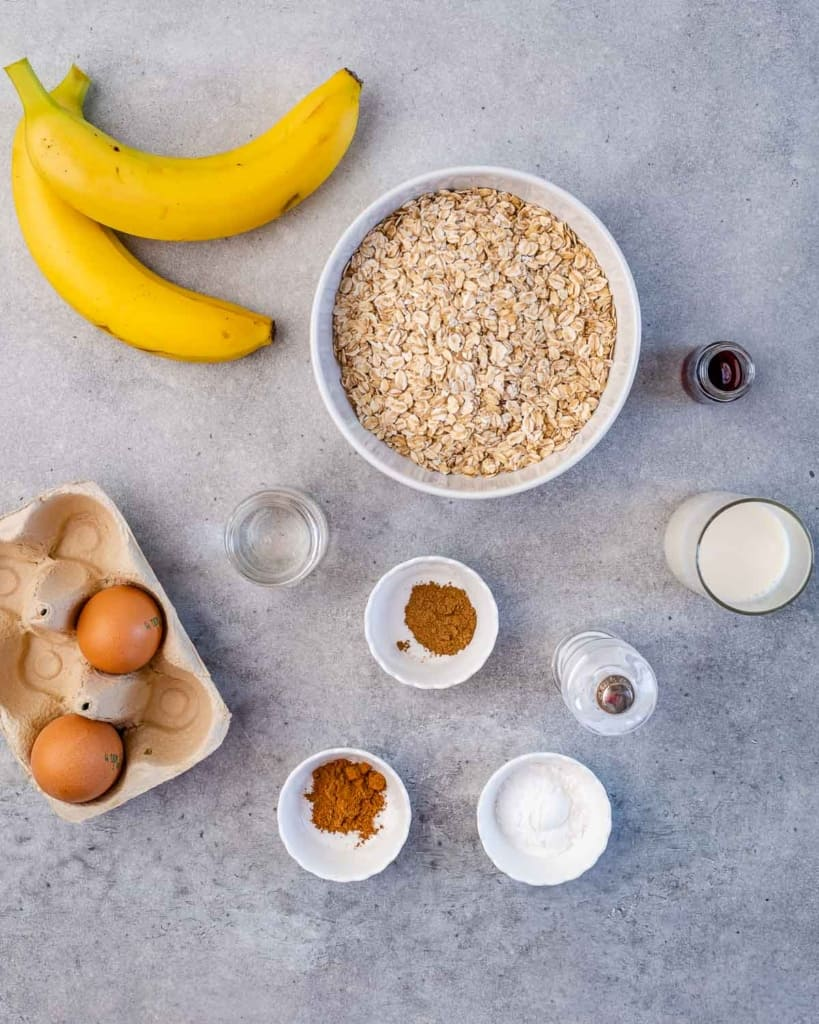 top view of ingredients for banana pancakes