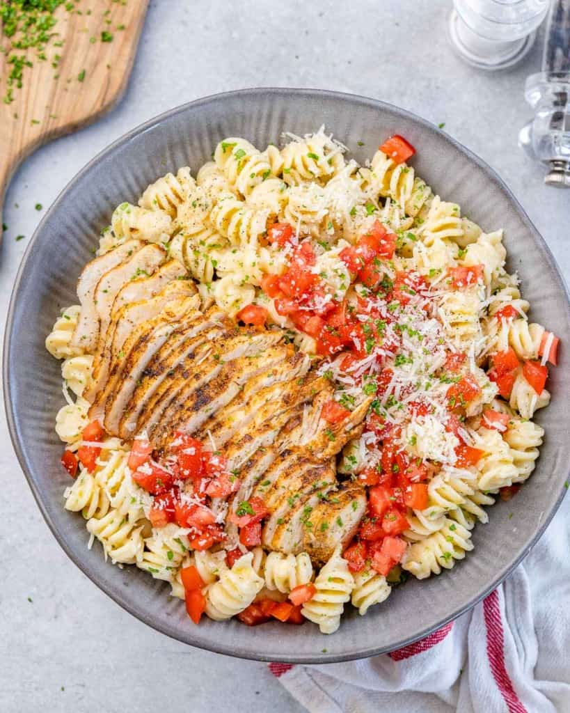 chicken pasta in a gray dish
