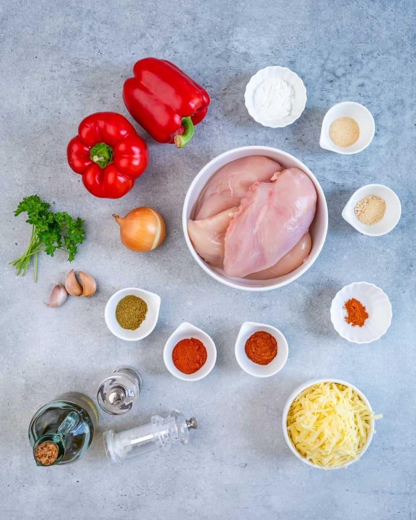 top view of ingredients to make fajita stuffed chicken breast