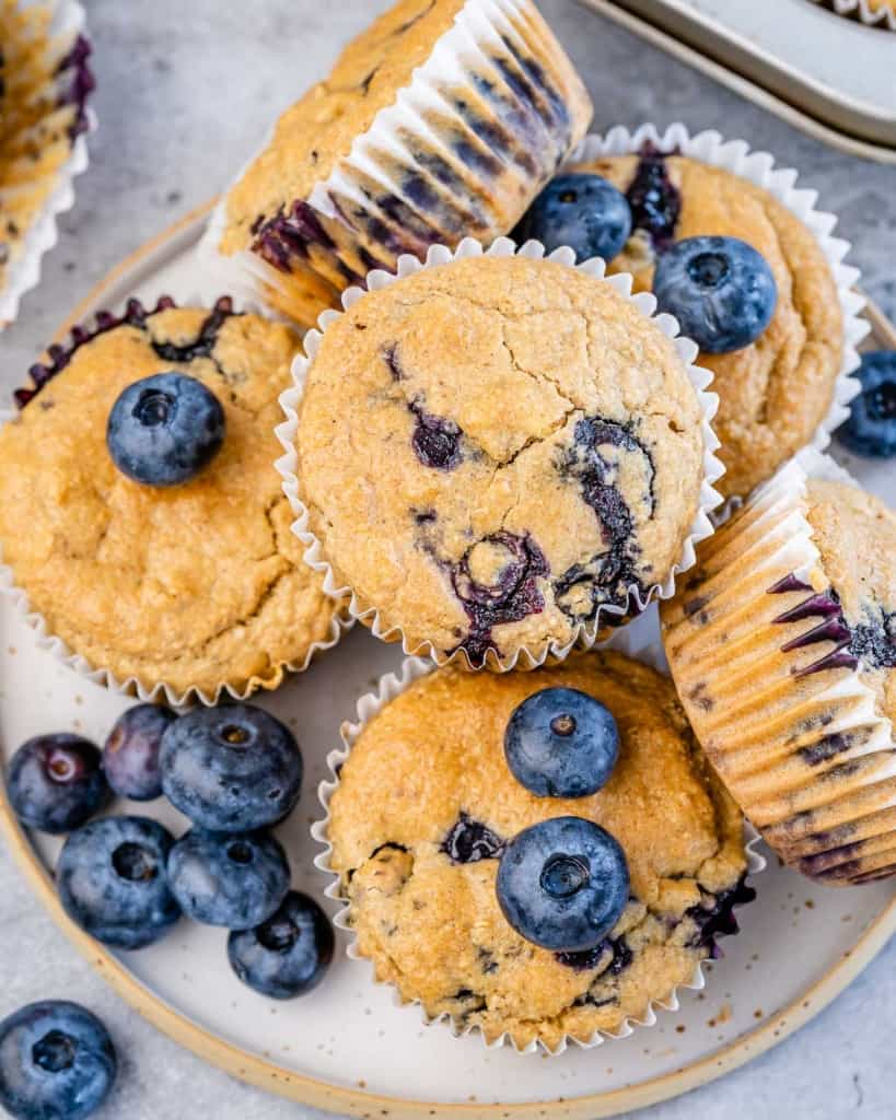 top view of blueberry muffins on a plate