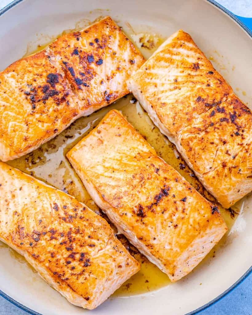 cooked salmon filets in pan without the glaze