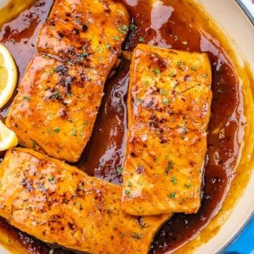 top view of 3 honey glazed salmon filets
