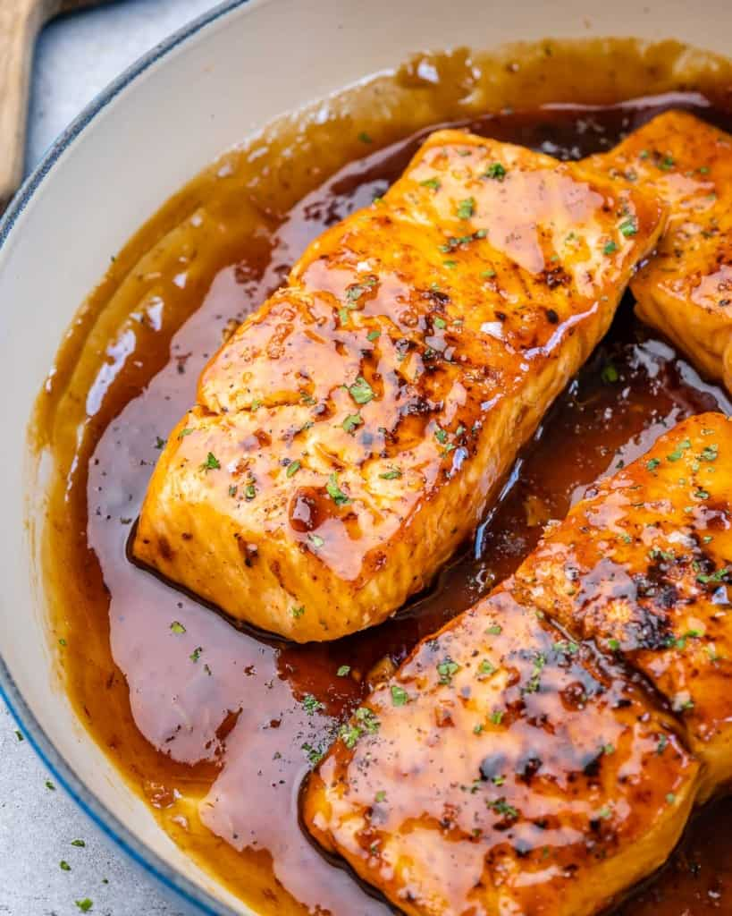 side shot of honey glazed salmon filets