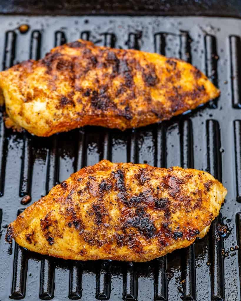 grilled chicken breast on a grill pan
