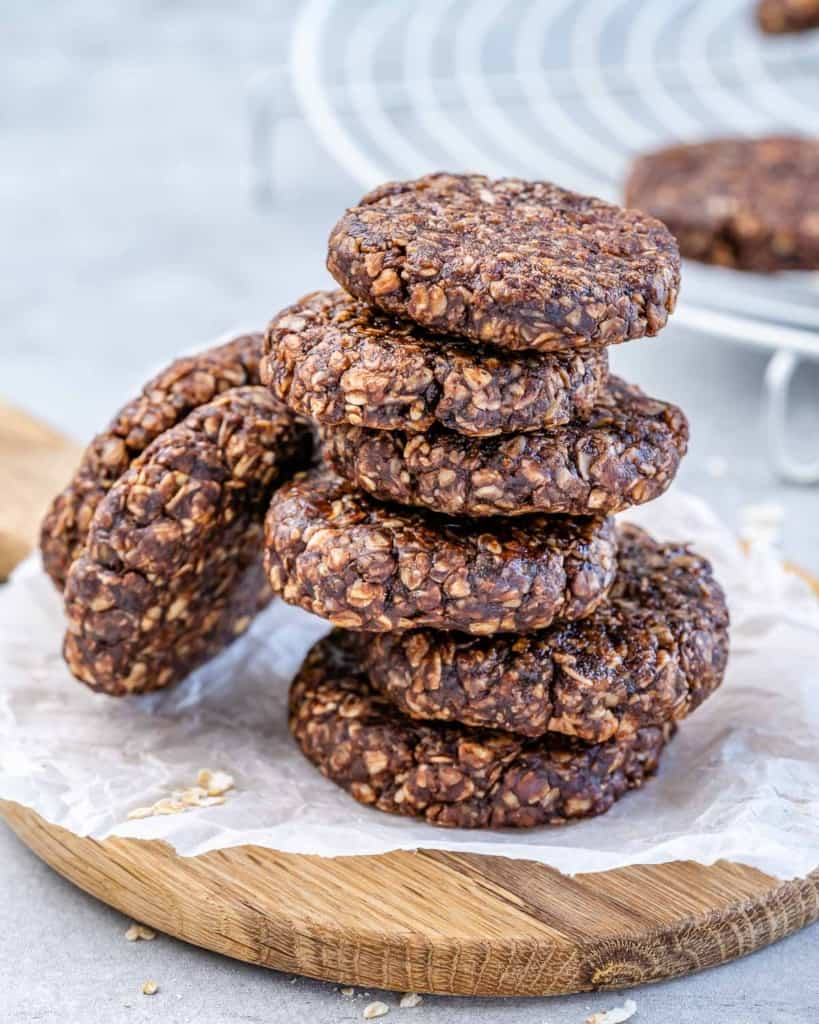 side shot of stacks of chocolate oatmeal cookies