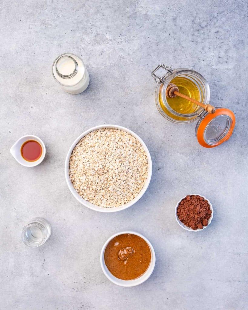 milk, honey, oats, vanilla, cocoa powder, nut butter