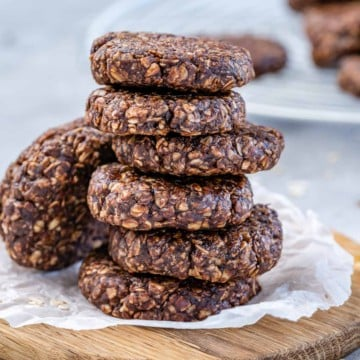 front view of chocolate oatmeal cookies