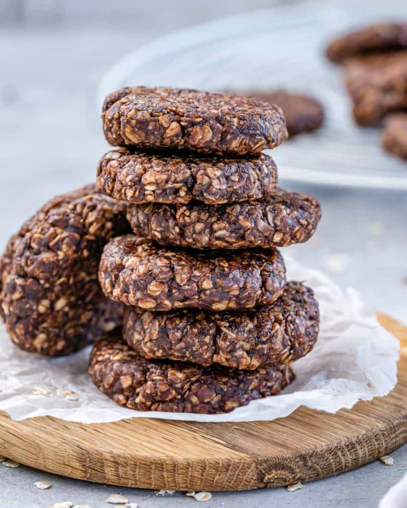 front stack of chocolate oatmeal cookies