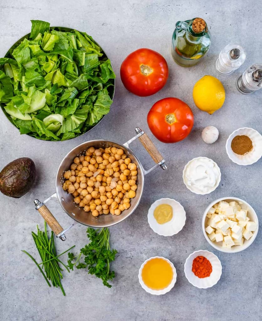 ingredients to make chickpea and avocado salad