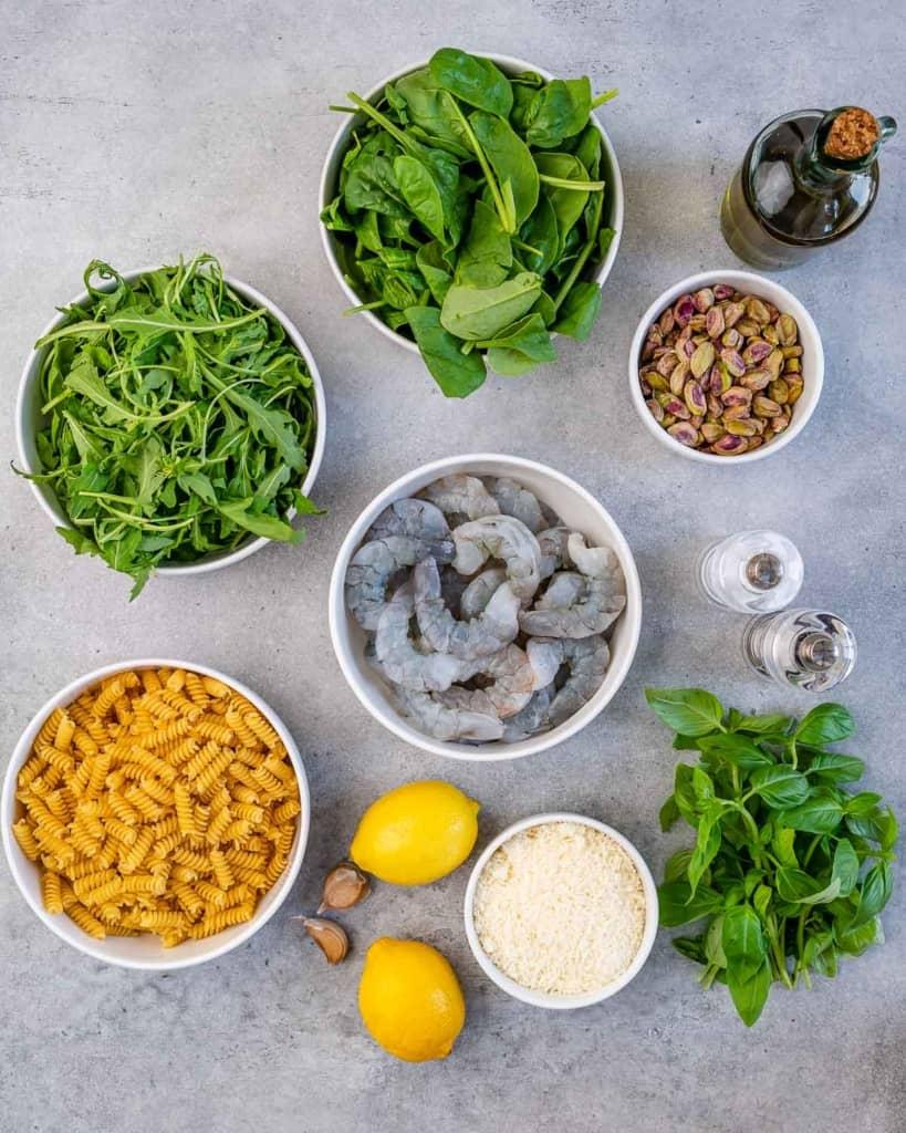 ingredients to make shrimp pesto pasta