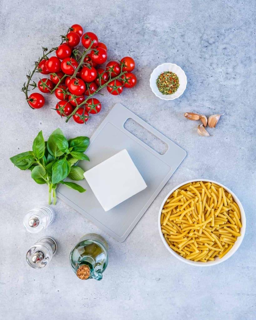 ingredients to make the baked feta pasta