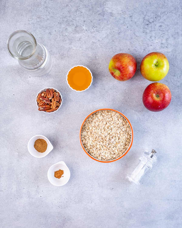 oats, spices, apples, salt, pecans, honey for apple cinnamon oatmeal