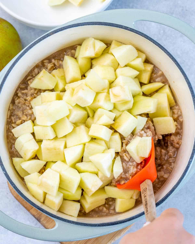 chopped apple in oatmeal