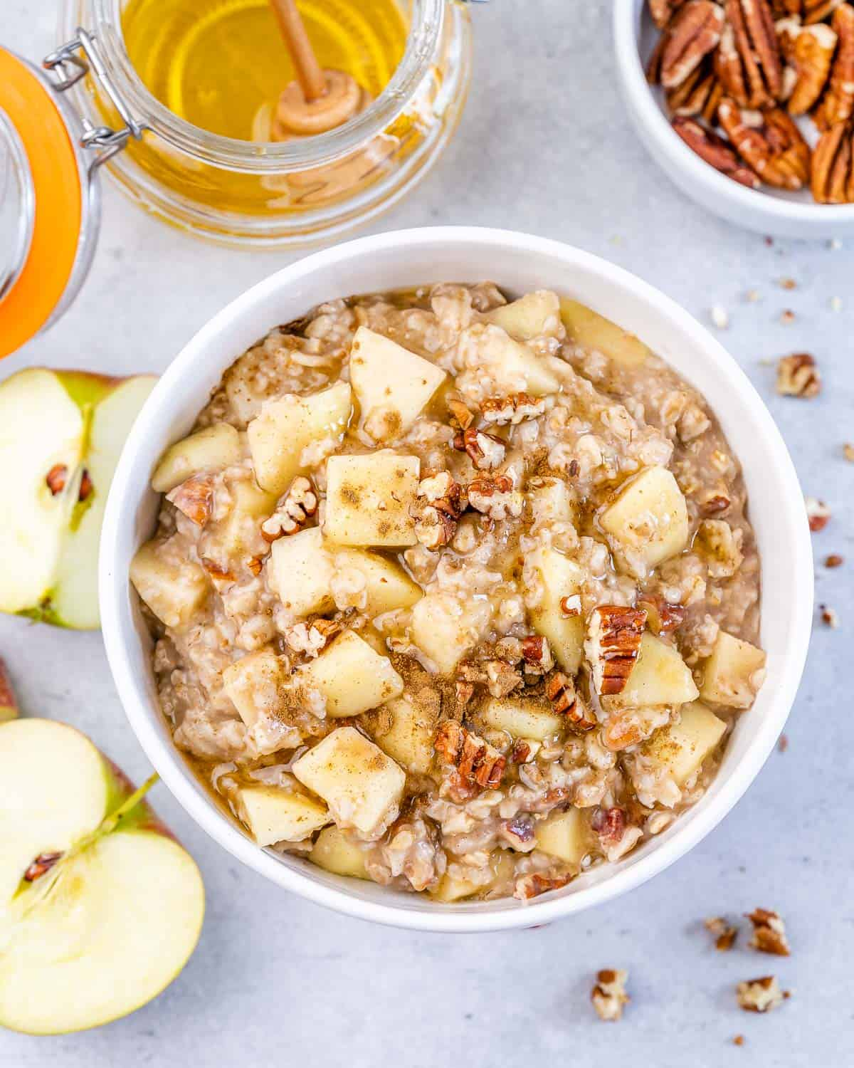 top view of apple cinnamon oatmeal with pecans