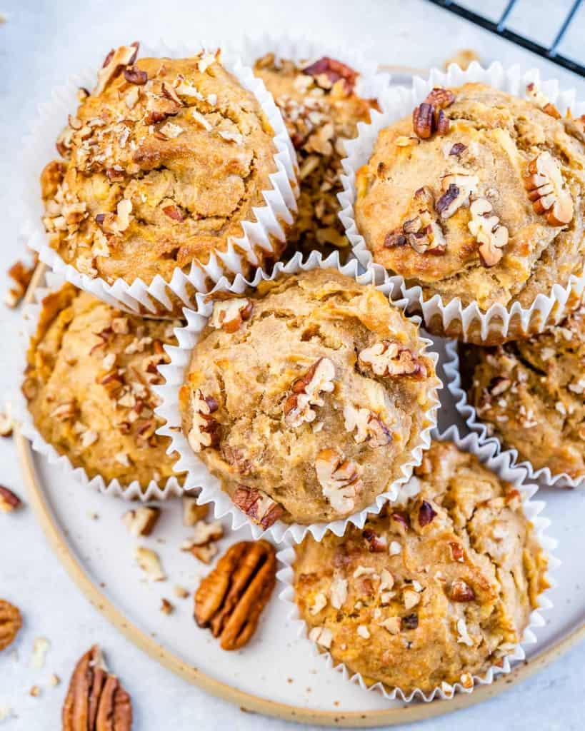 close up of apple muffins on plate