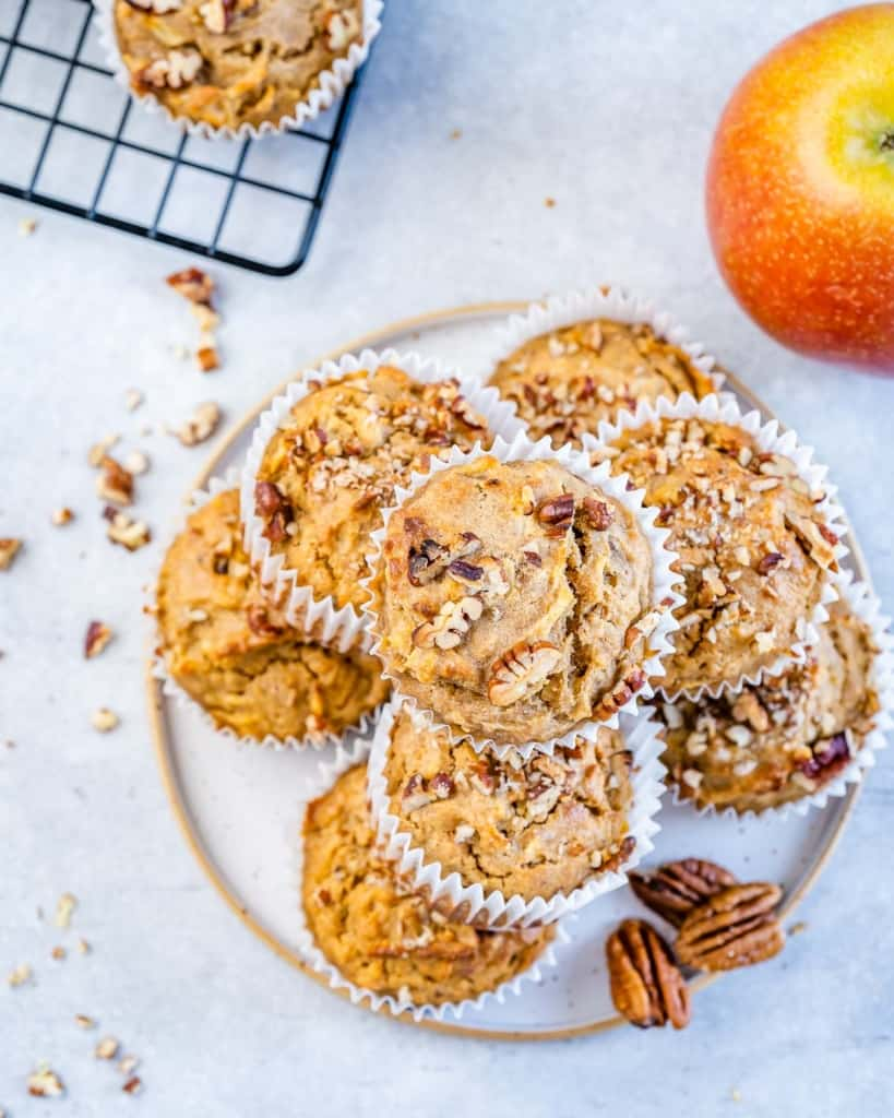 plate of apple pecan muffins