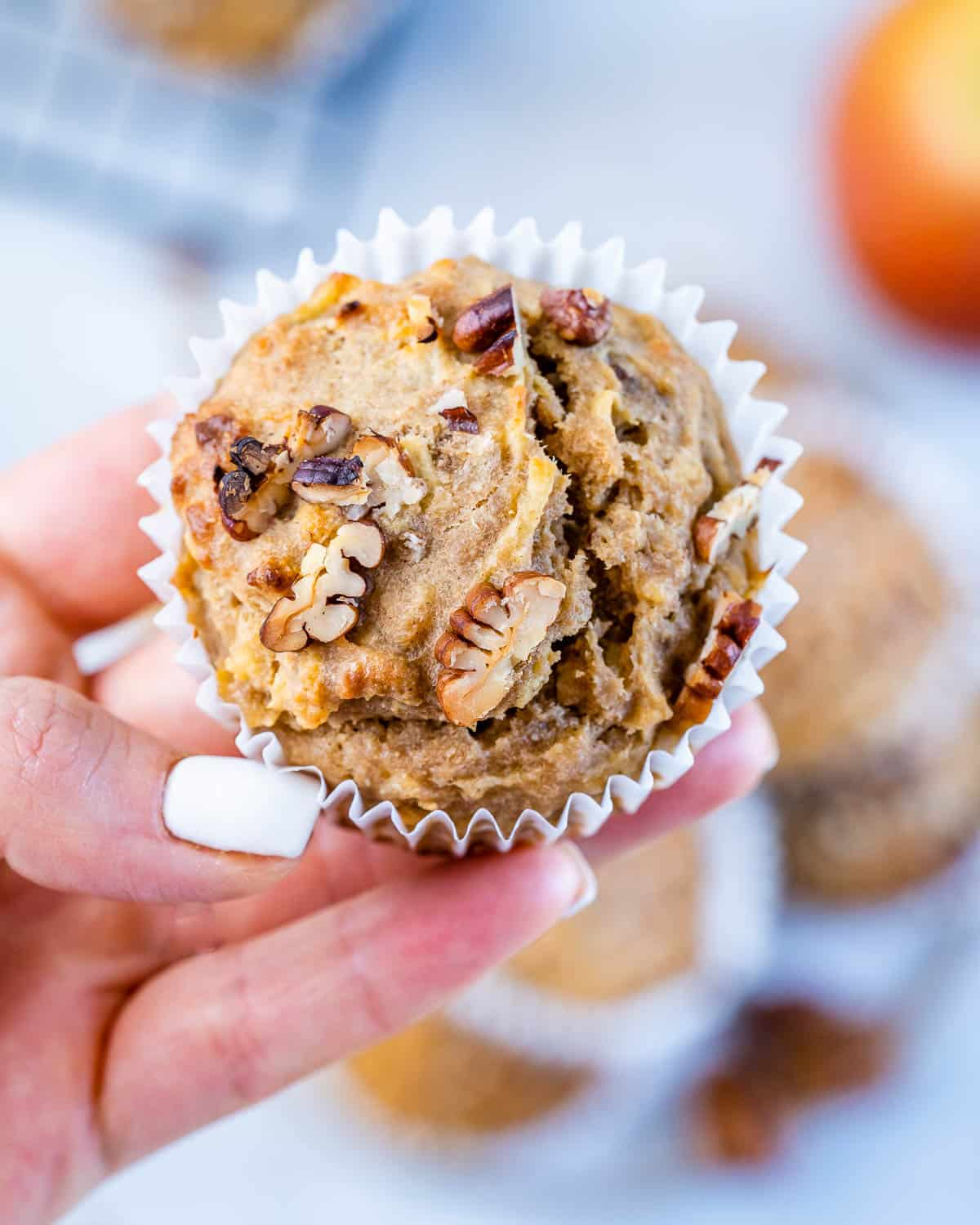close up of apple muffin