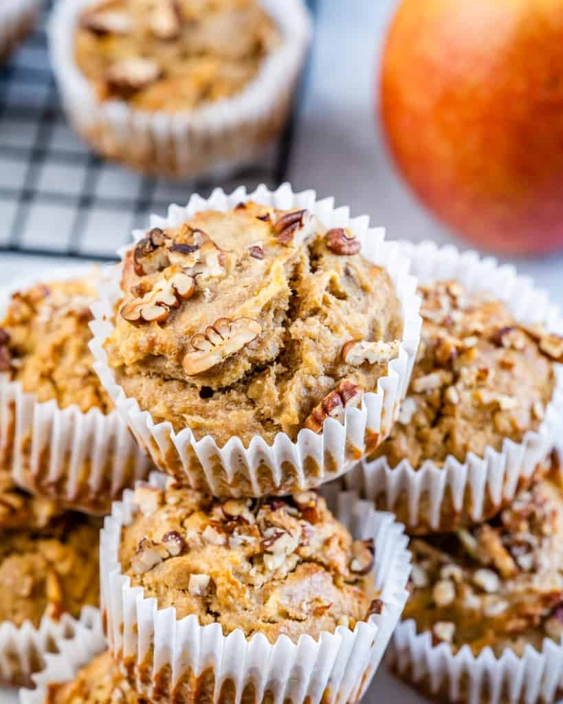 front view of pecan apple muffins in liners