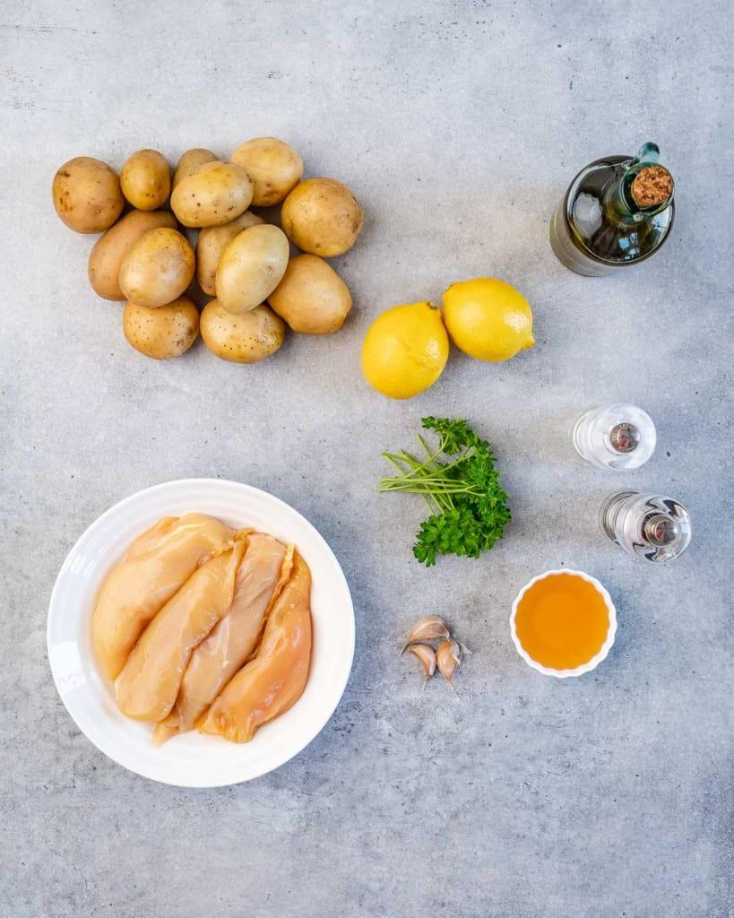 ingredients to make honey lemon chicken and potatoes