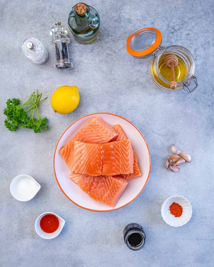 ingredients for the pan seared honey garlic salmon laid out